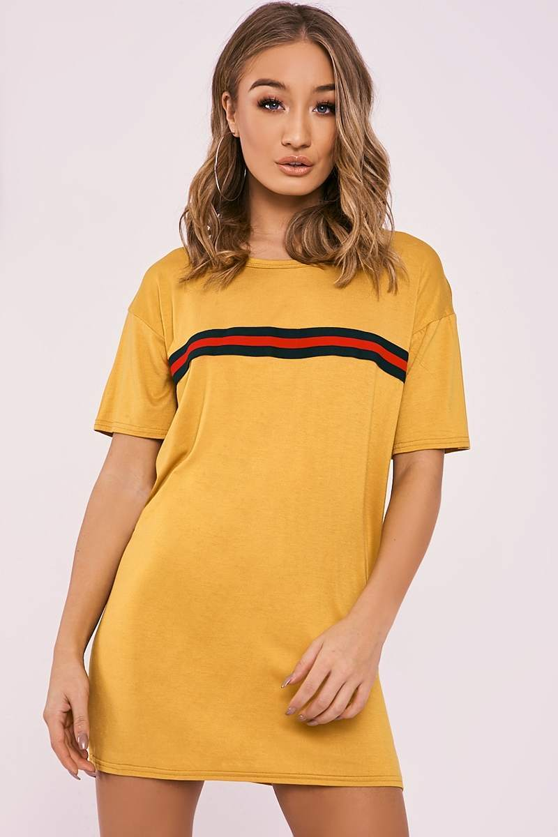 Beata mustard sports stripe t shirt dress in the style for Sporty t shirt dress