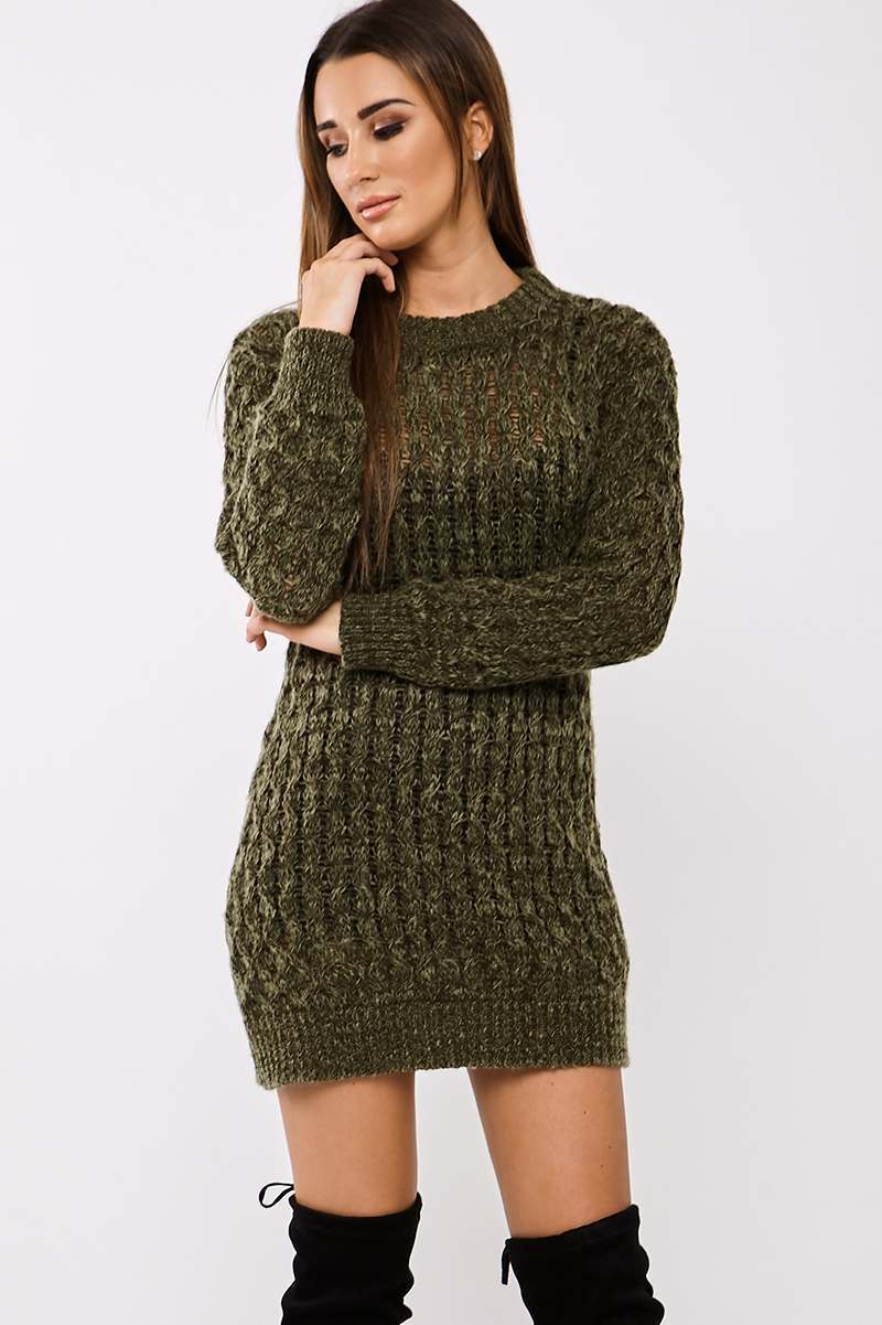 Khaki Dresses  Shelbie Khaki Cable Knitted Jumper Dress