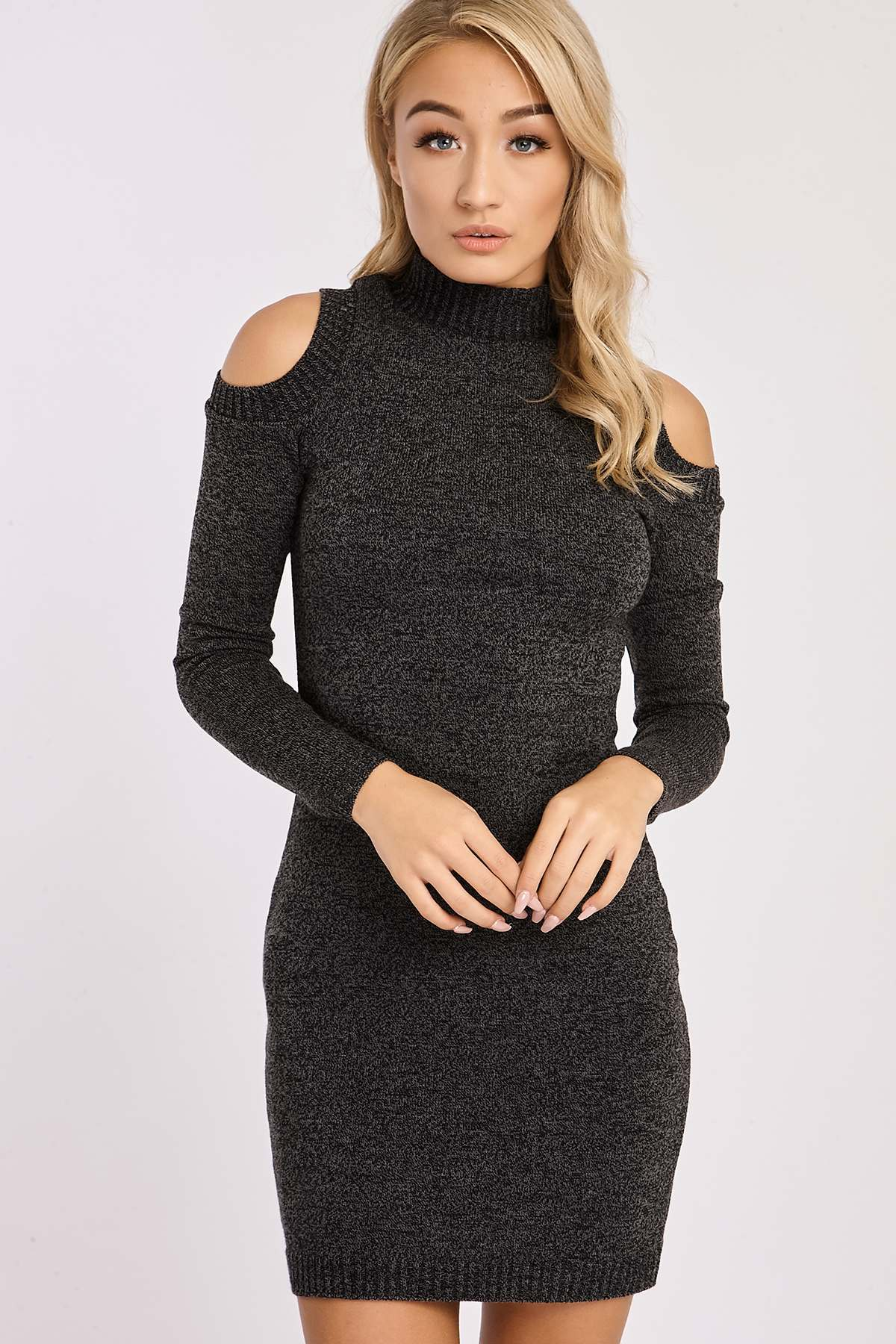 Charcoal Dresses  Adeline Charcoal Knitted Cold Shoulder Dress