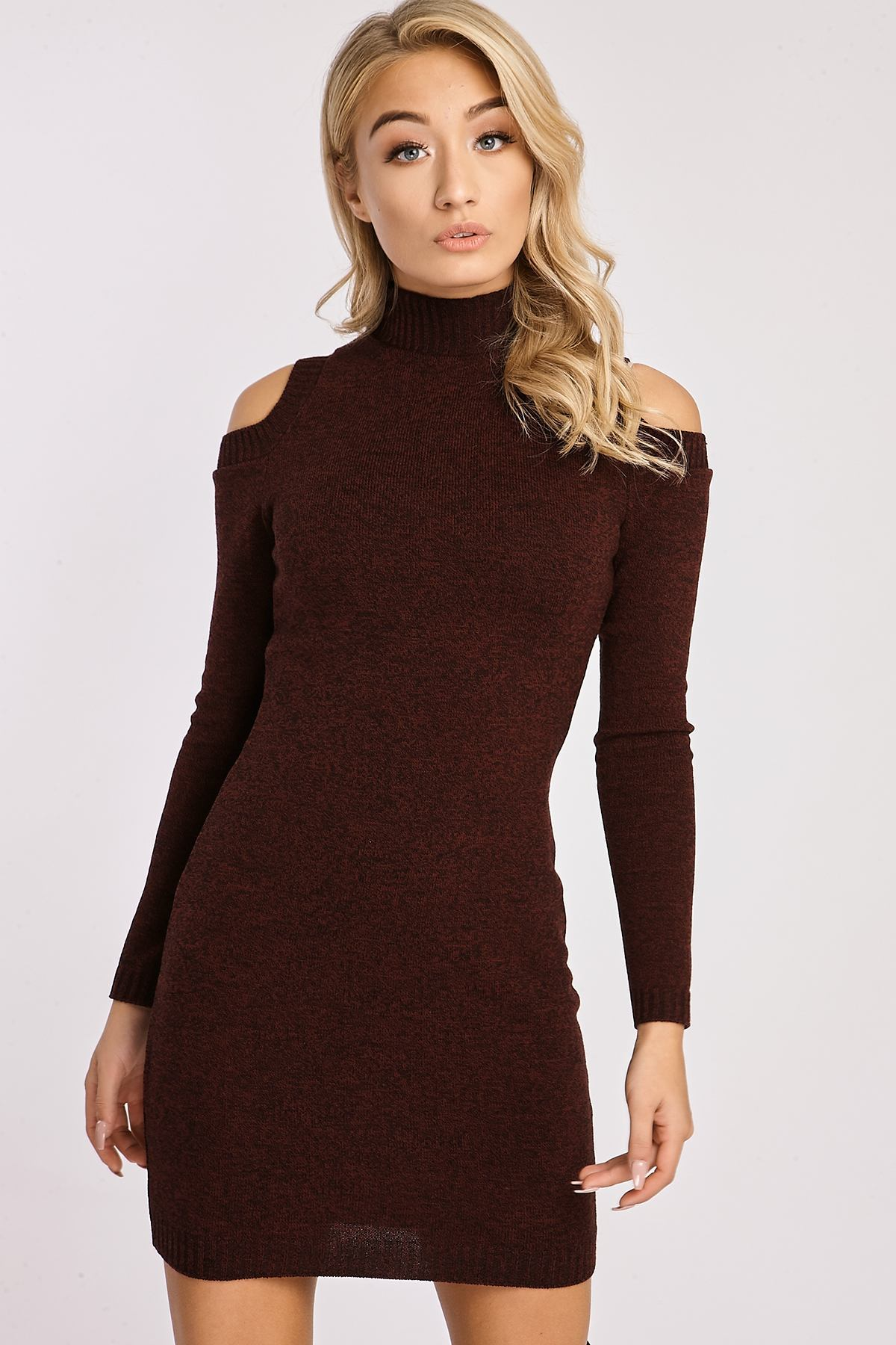 Wine Dresses  Adeline Wine Knitted Cold Shoulder Dress