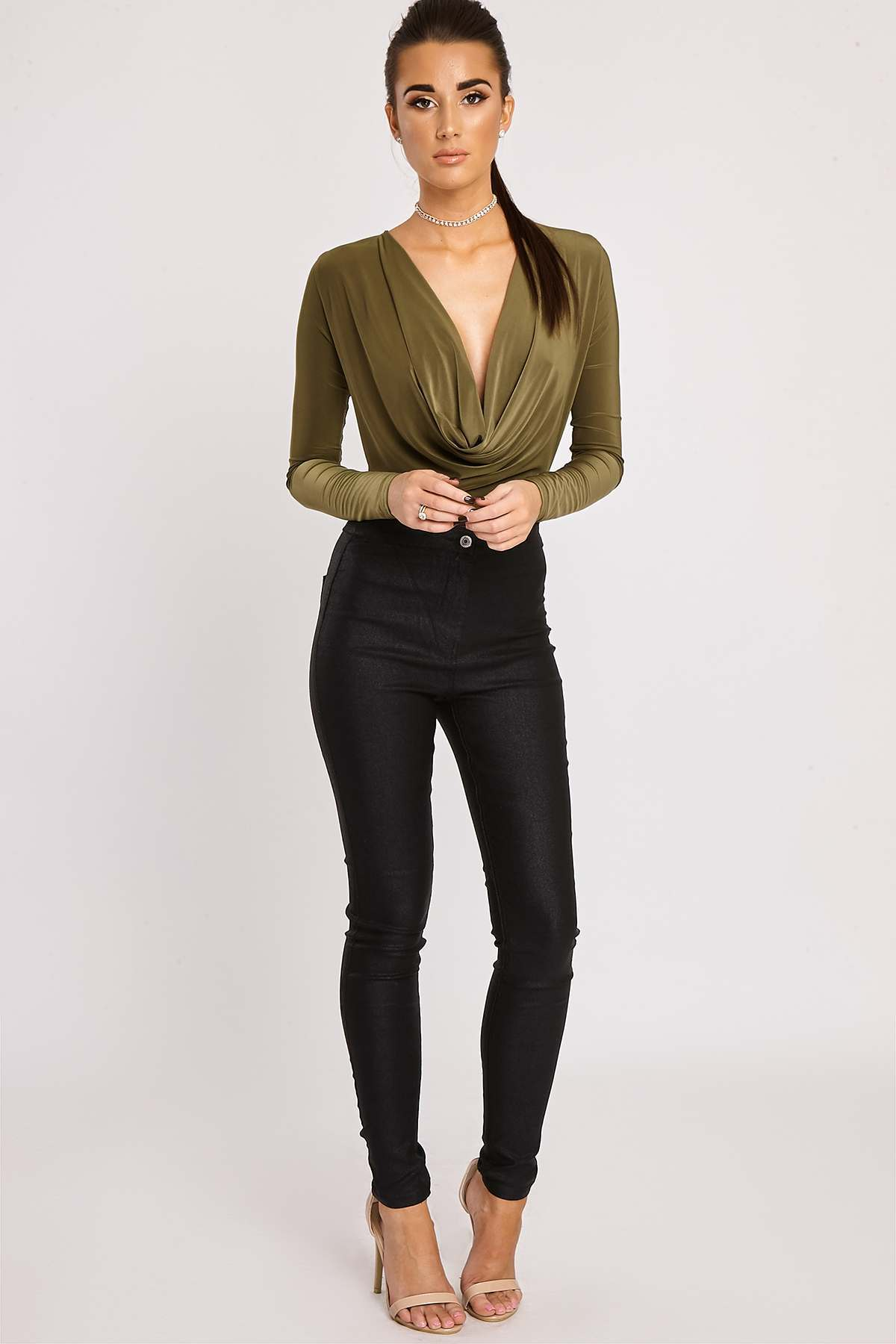 Black Jeans  Alexia Black Shimmer Coated High Waisted Skinny Jeans