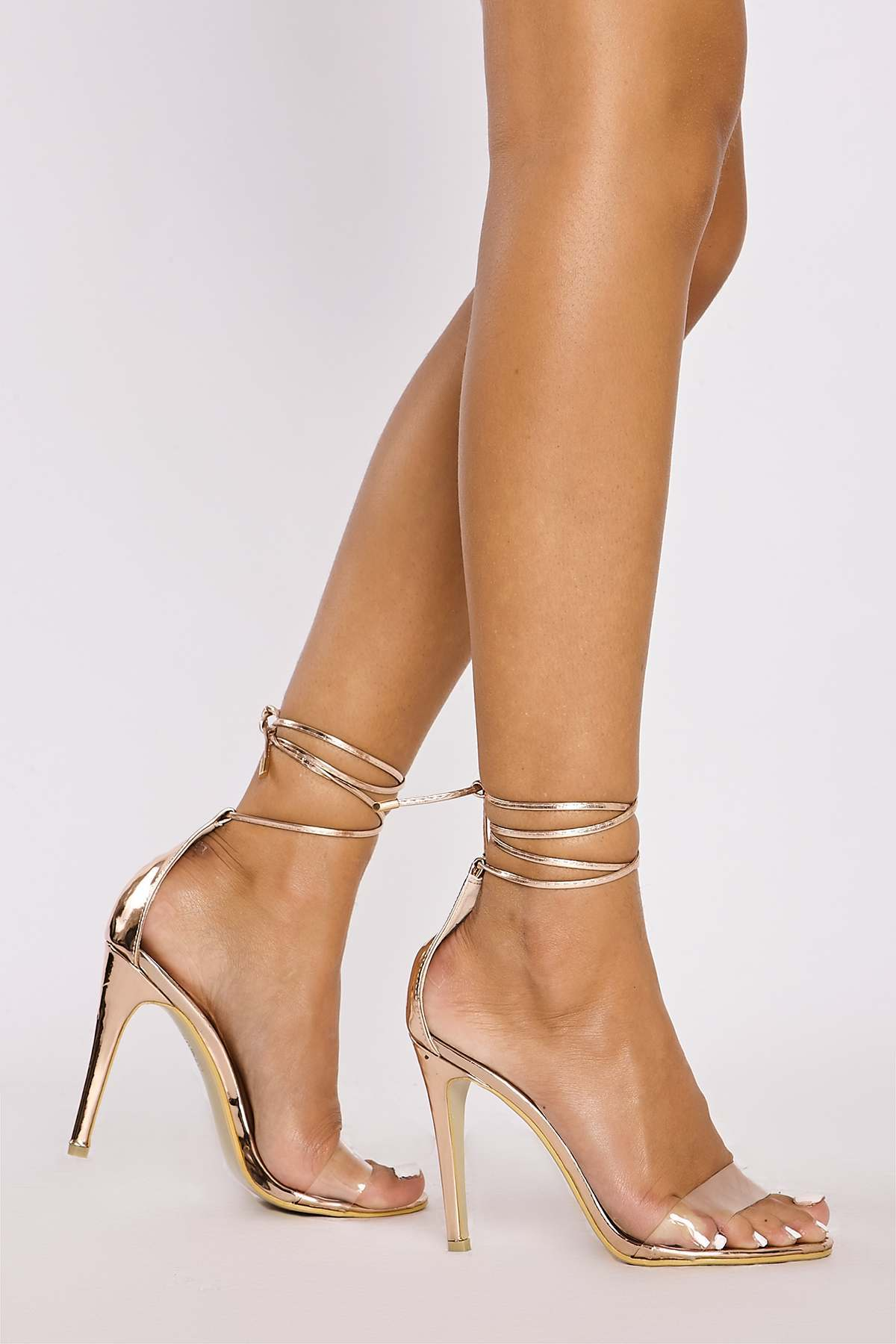Alicia Rose Gold Chrome Clear Strap Tie Leg Heels In The