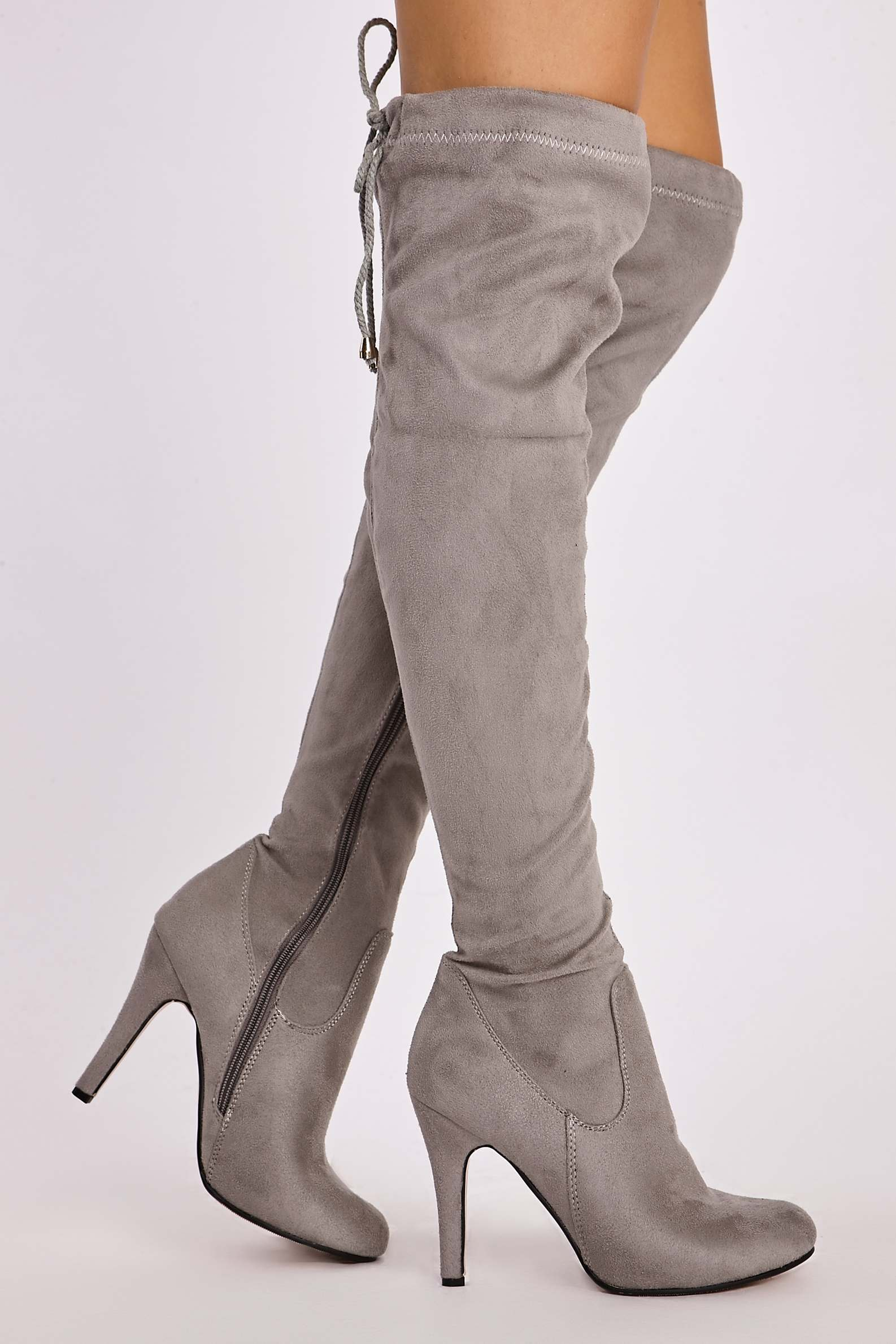 9416239dd251 Grey Boots Aviana Grey Faux Suede Over the Knee Boots