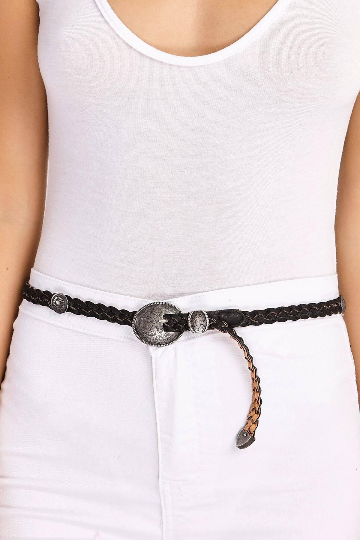 Black Belts  Paniz Black Faux Leather Plaited Coin Detail Belt