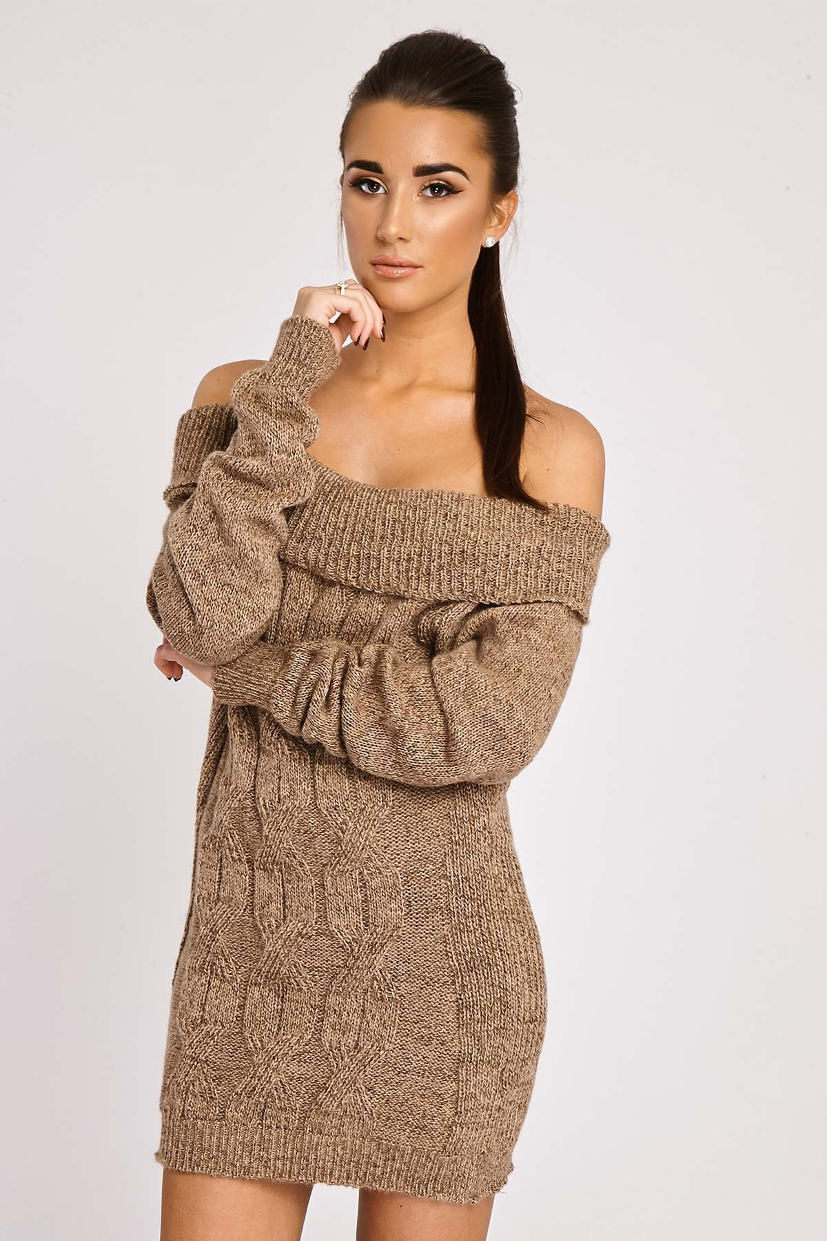 Mocha Dresses  Bindi Mocha Off Shoulder Knitted Dress