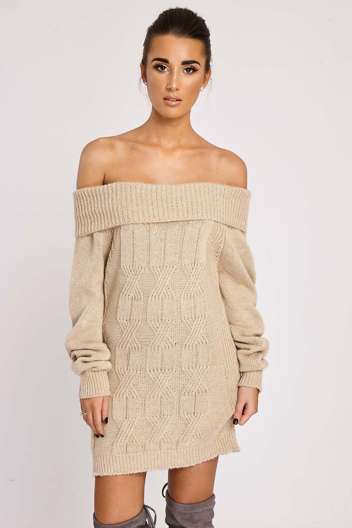 Stone Dresses  Bindi Stone Off Shoulder Knitted Dress