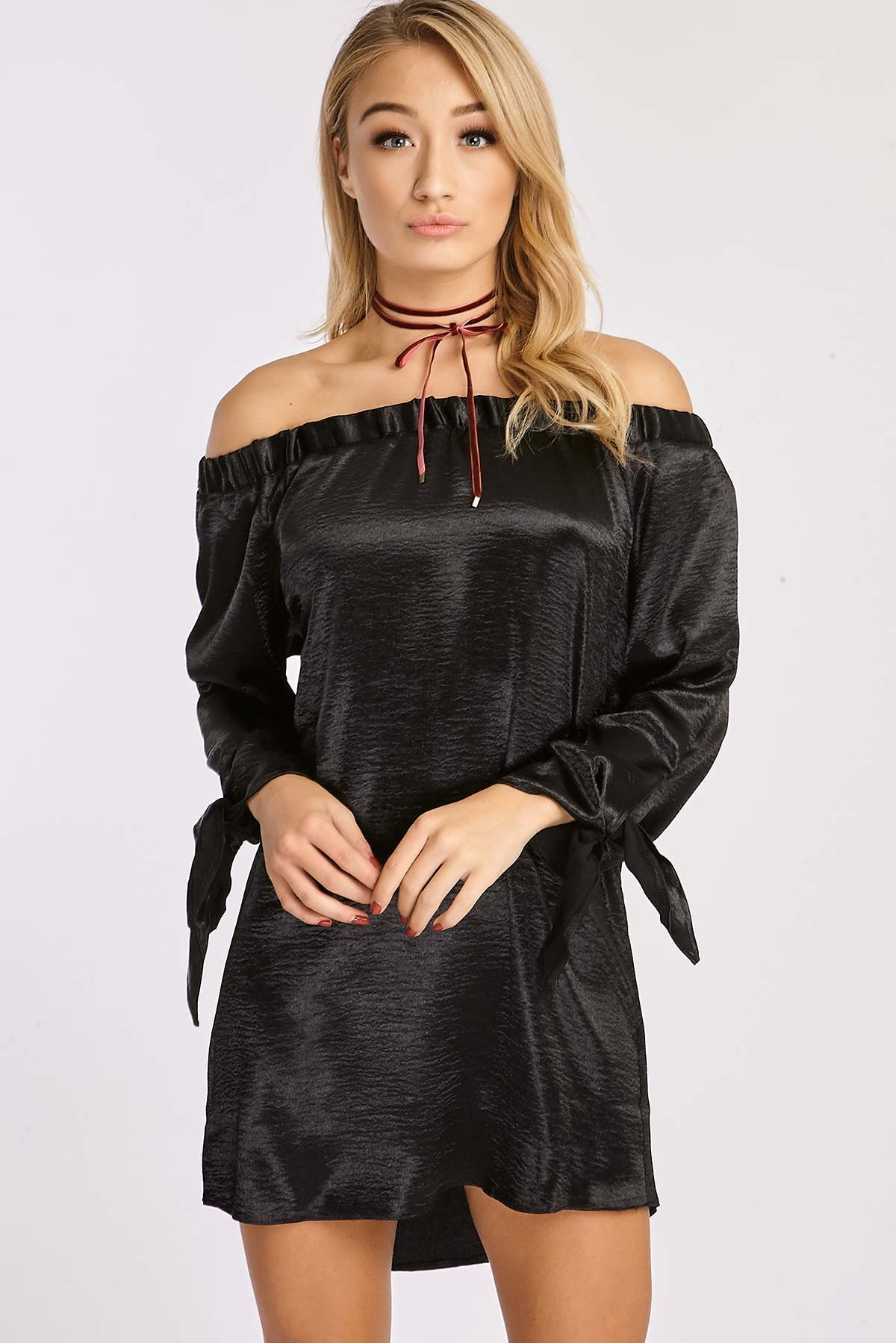 Black Dresses  Brigitte Black Satin Tie Sleeve Bardot Dress