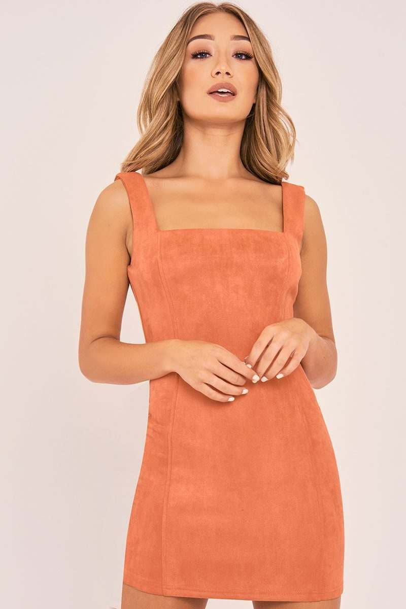 Bandage bodycon dresses 0 celebrities 1639 get lucky extra 50 0 - Charlotte Crosby Orange Faux Suede Bodycon Dress