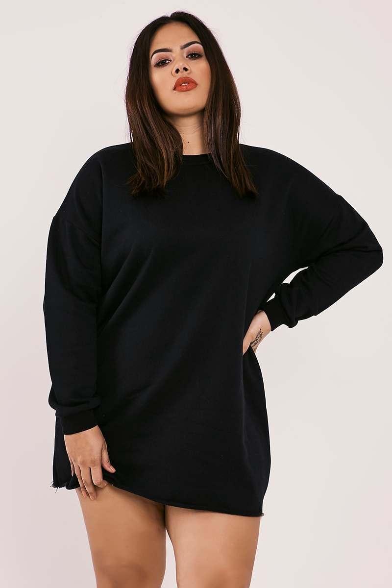 CURVE LOUNA GREY OVERSIZED SWEATER DRESS | In The Style