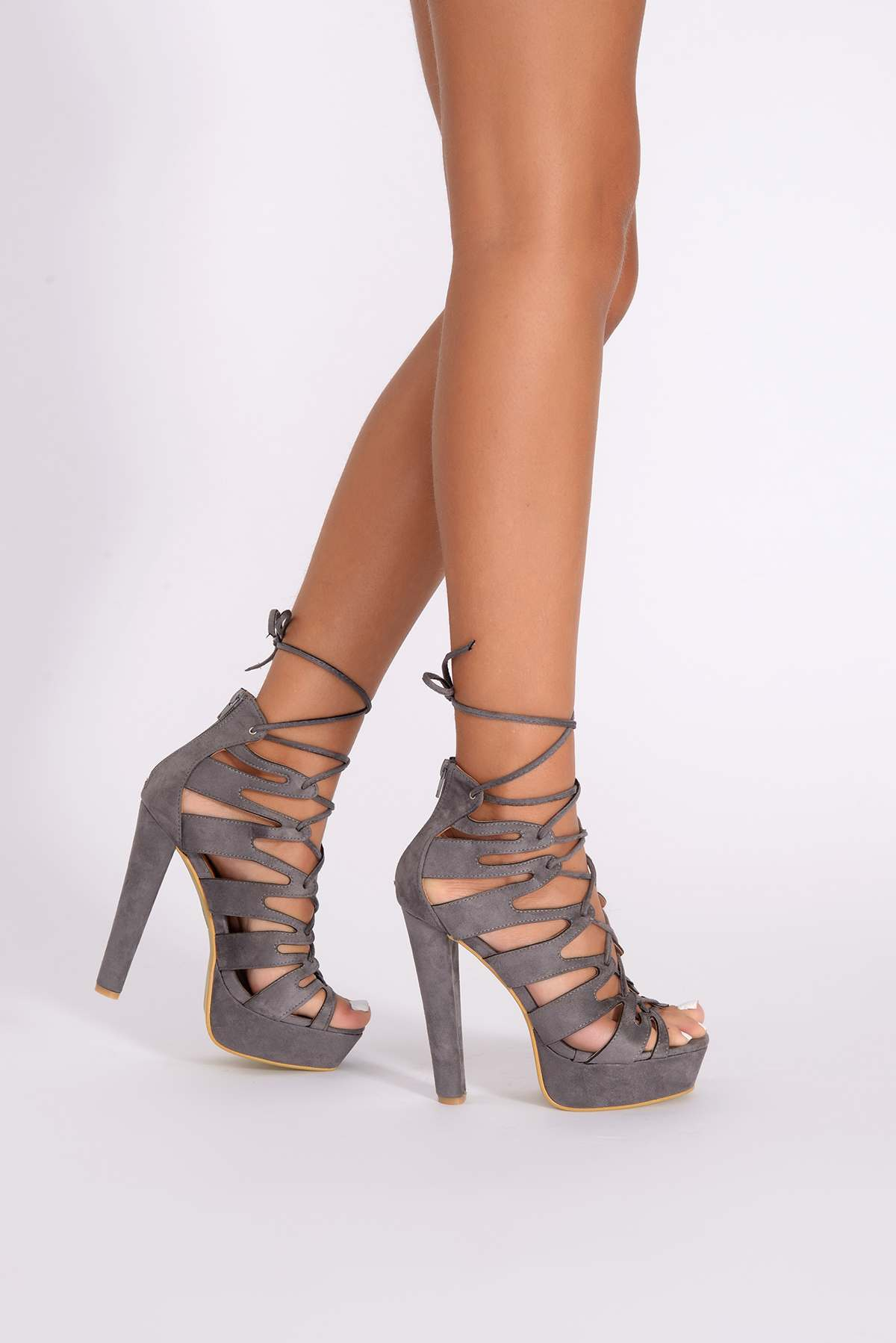 Xena Grey Faux Suede Cut Out Lace Up Heels - In The Style