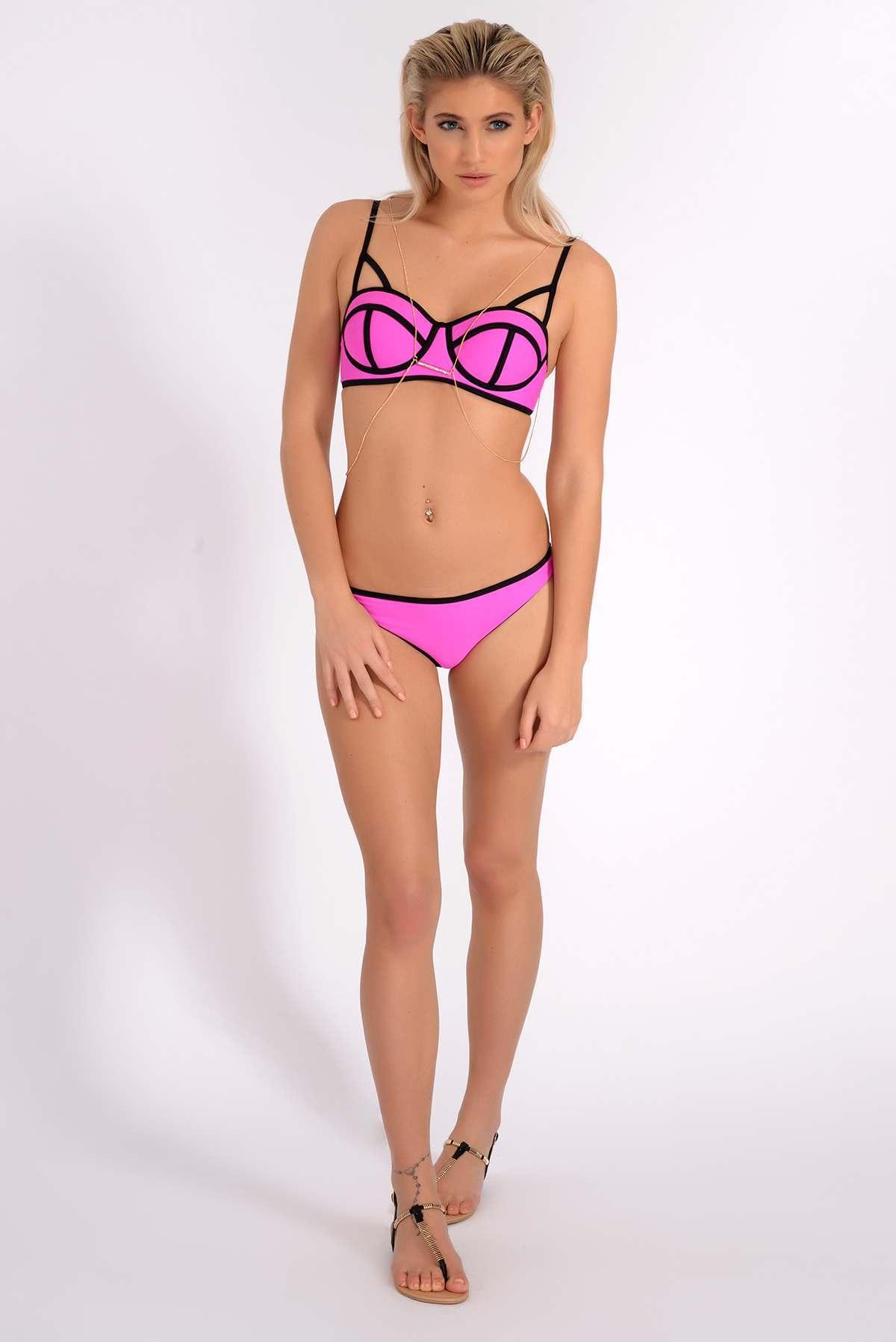 Pinkblack Bottoms  Bianca South Beach Pink & Black Contrast Bikini Bottoms