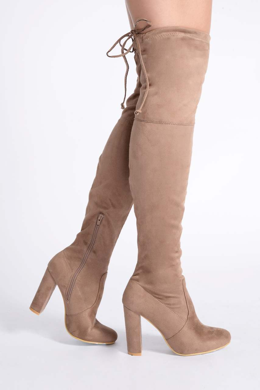 REMI MOCHA FAUX SUEDE OVER THE KNEE HEELED BOOTS - In The Style