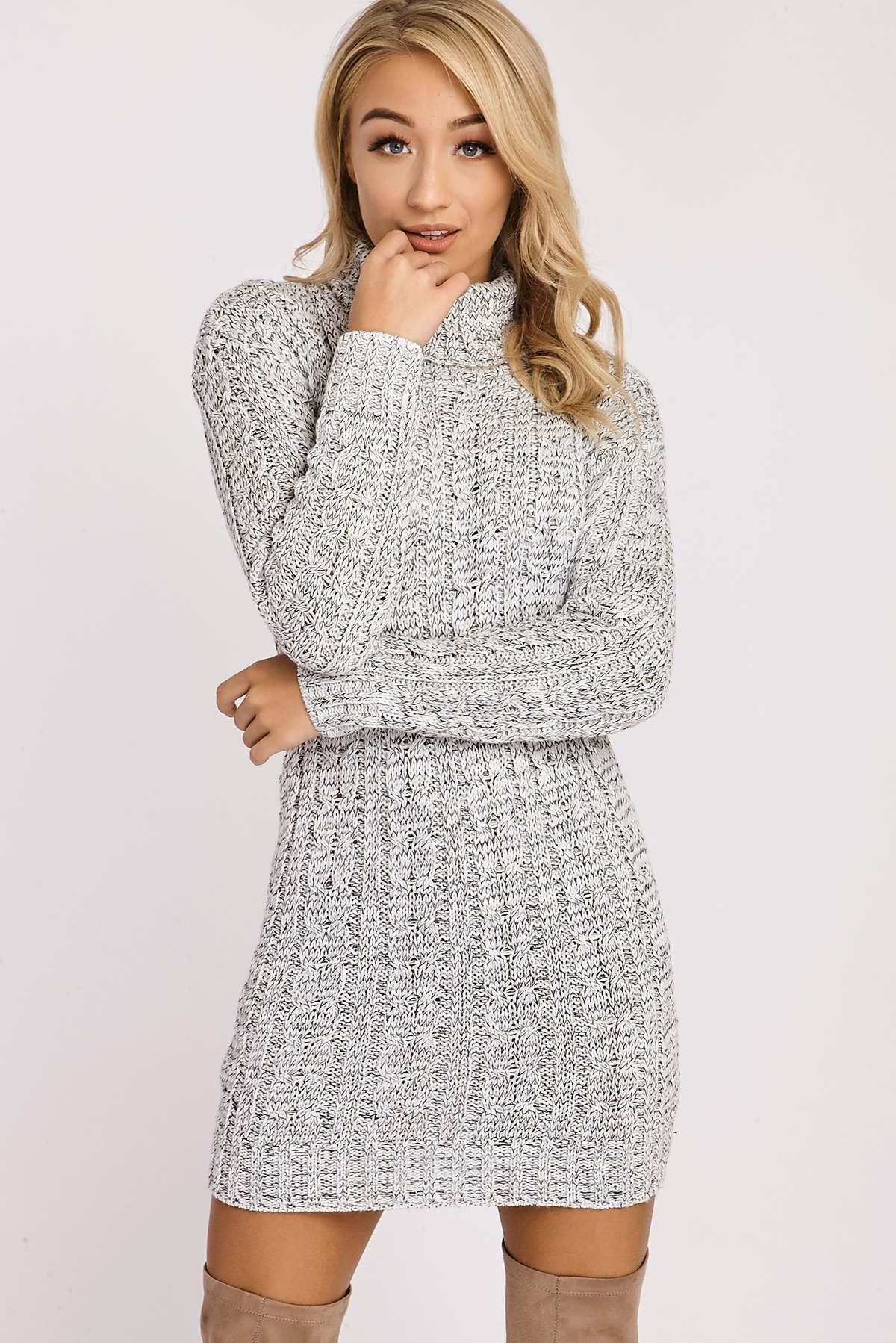 Grey Dresses  Elise Grey Roll Neck Jumper Dress