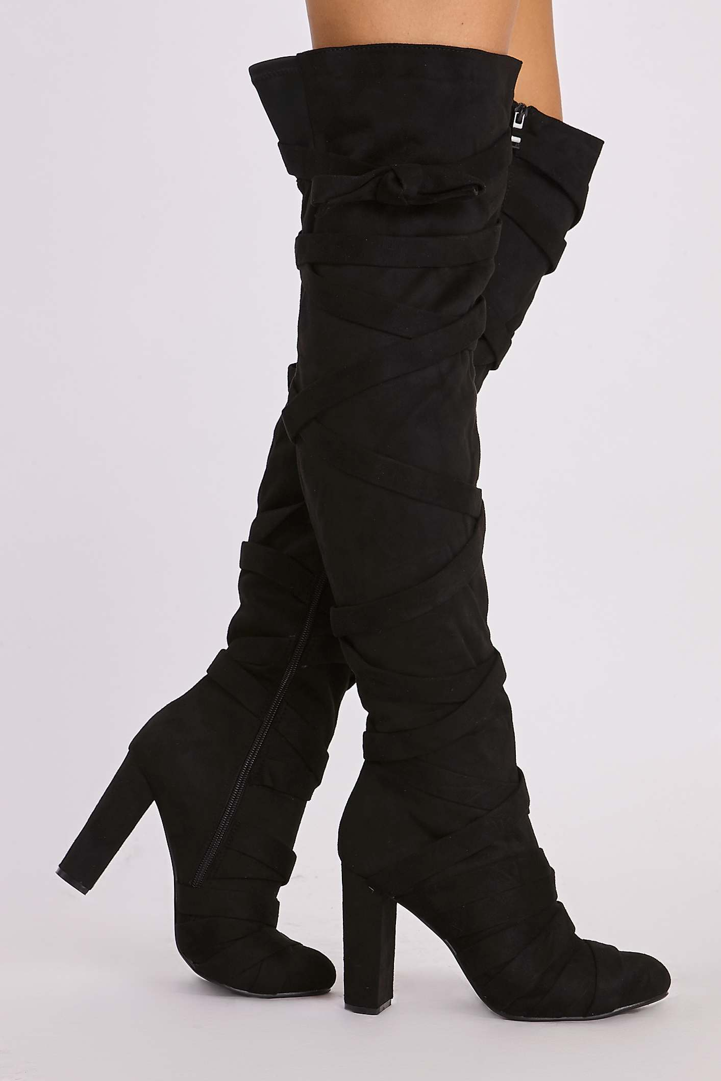 Black Boots  Evadine Black Faux Suede Wrap Tie Over the Knee Boots