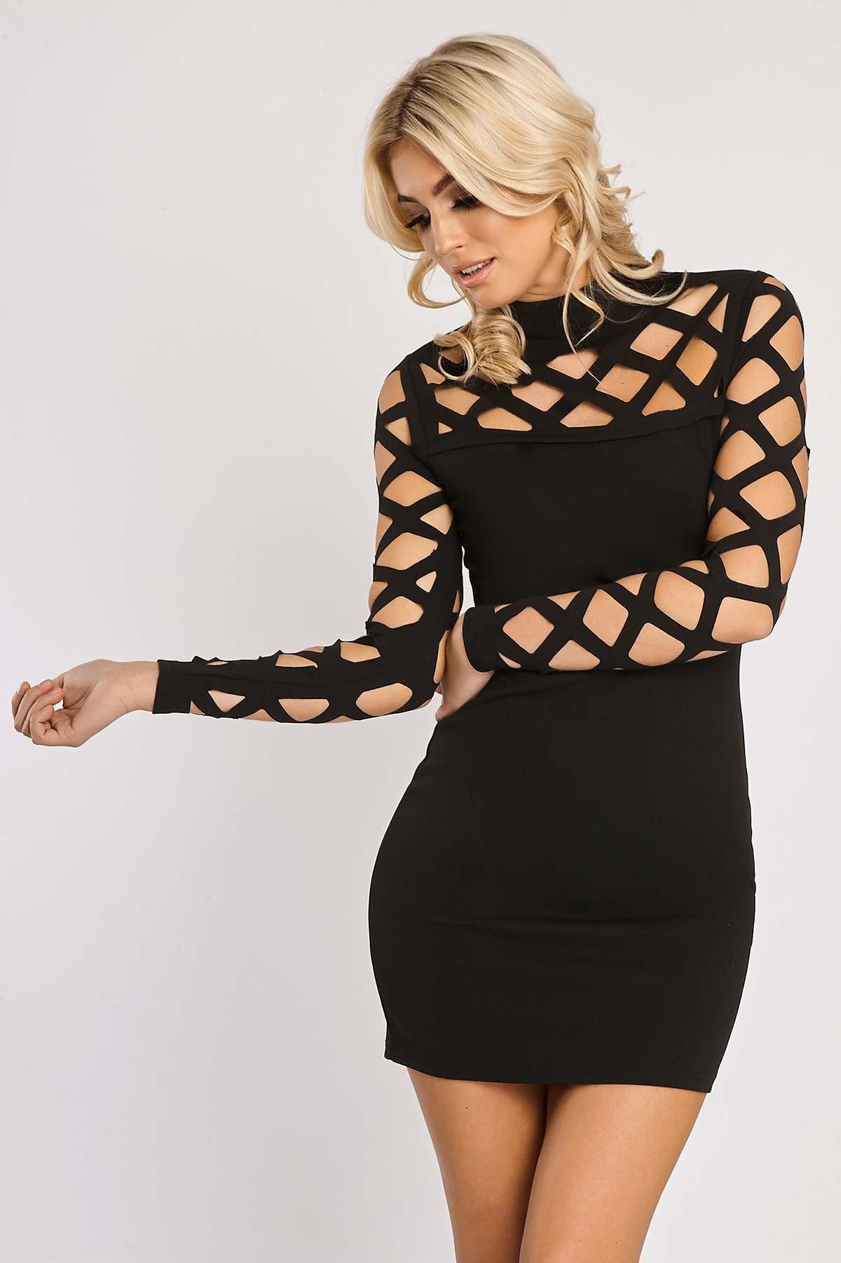 Black Dresses  Felicine Black Laser Cut Out Long Sleeve Dress
