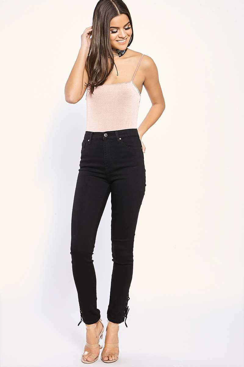 caroline black lace up ankle high waisted skinny jeans