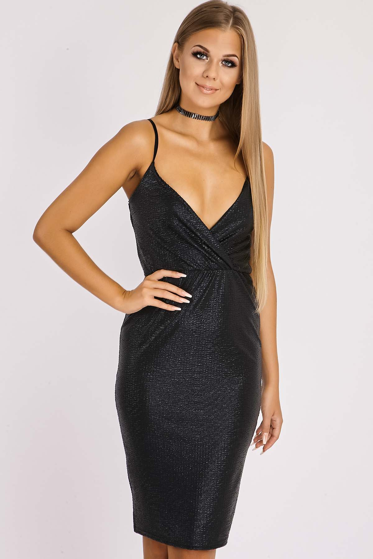 Black Dresses  Gianna Black Metallic Wrap Cami Dress