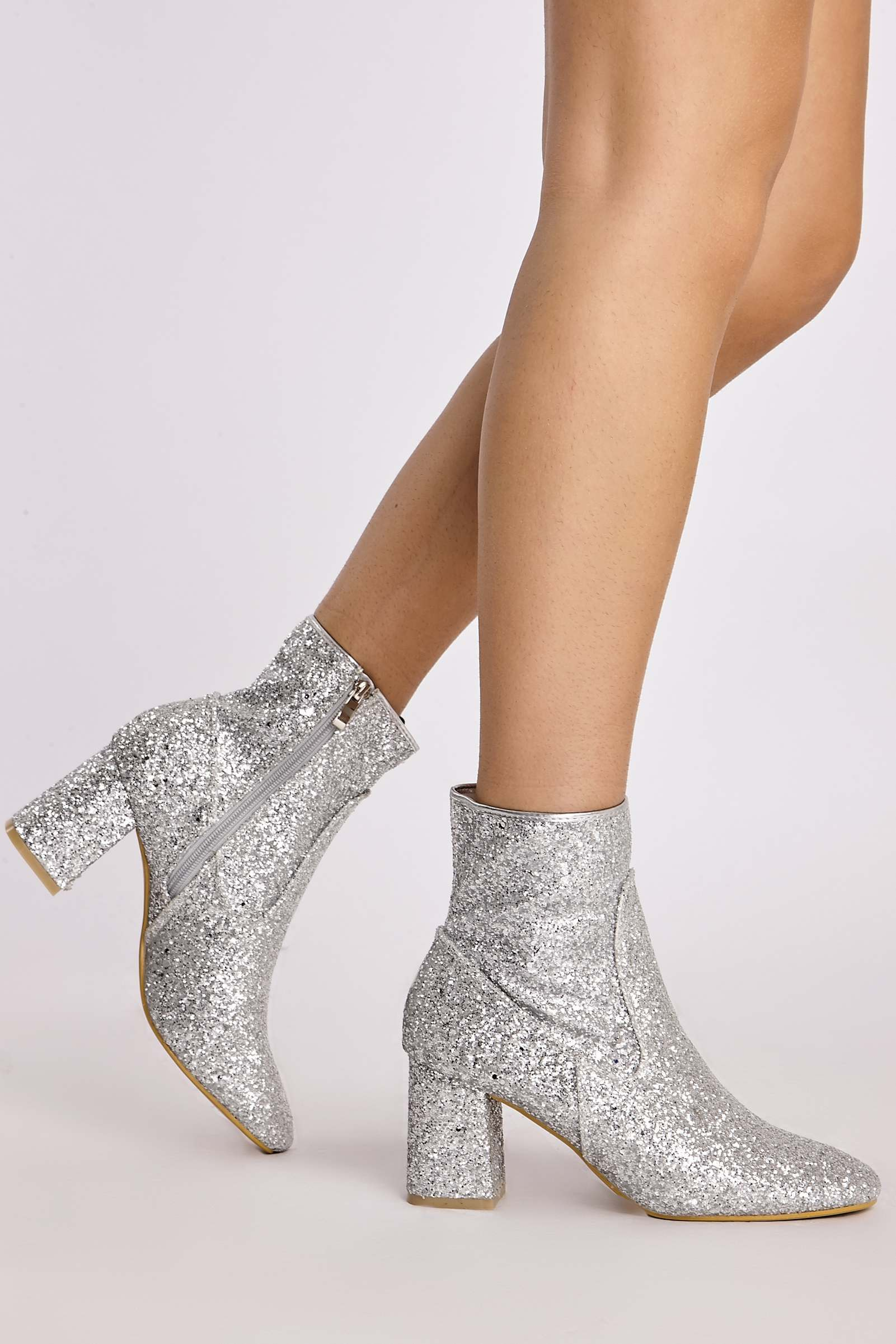 Silver Boots  Idelle Silver Glitter Block Heel Ankle Boots