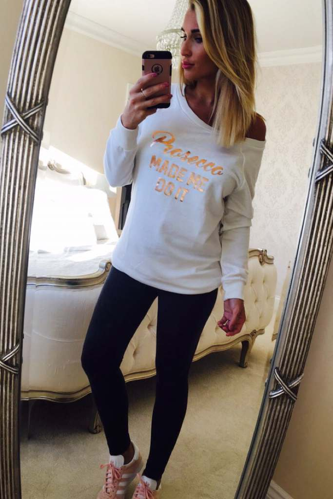 Cream Dresses  Billie Faiers Prosecco Made Me Do It Slogan Cream Jumper Dress