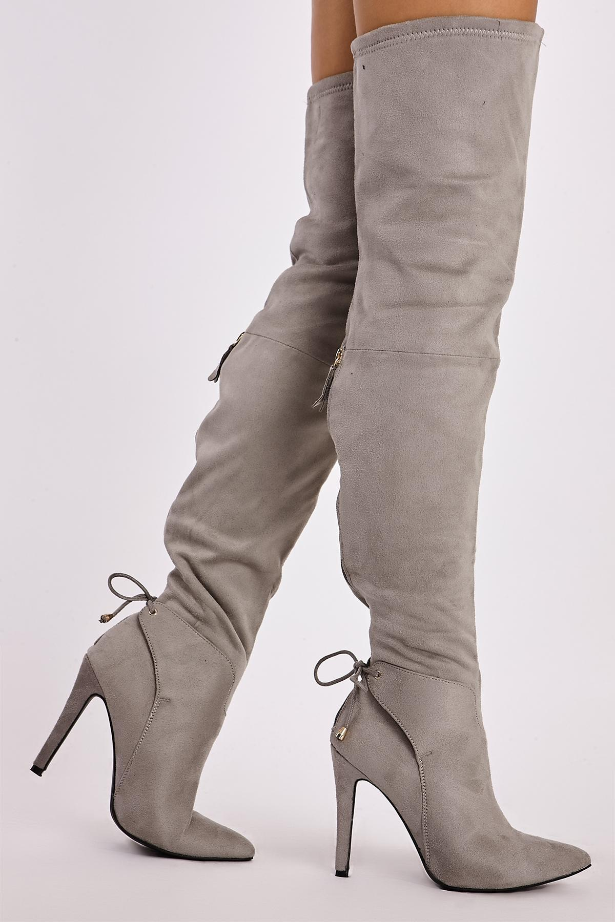 Grey Boots  Ivana Grey Faux Suede Ankle Tie Thigh High Boots