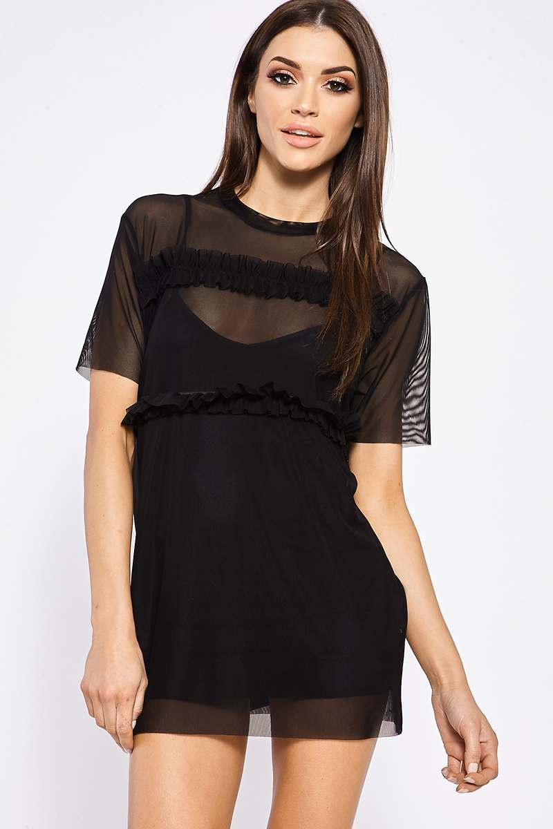 Black Dresses  Stasia Black Mesh Ruffle t Shirt Dress