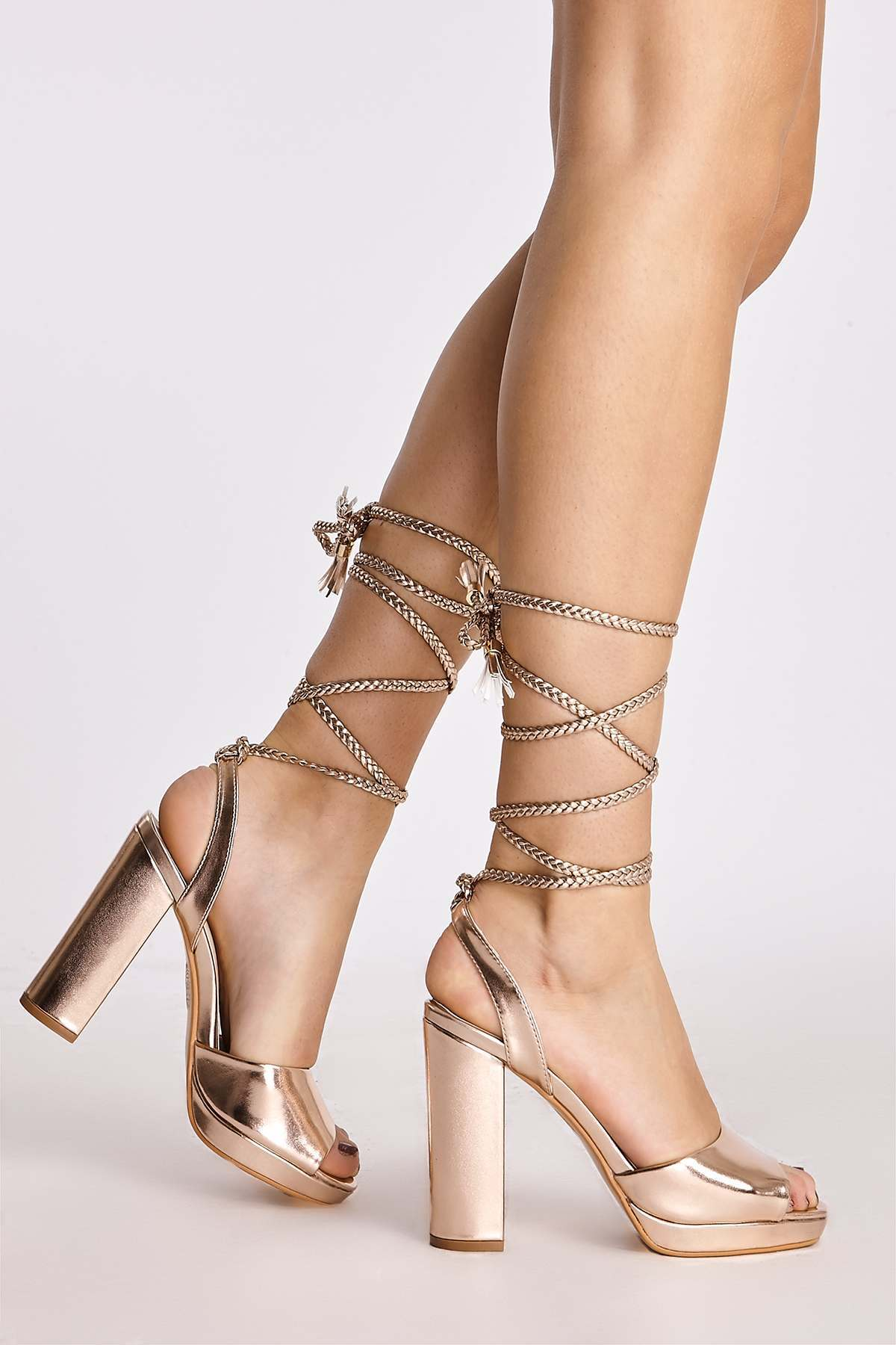 Heels  Alecia Rose Gold Plaited Tie Leg Heels