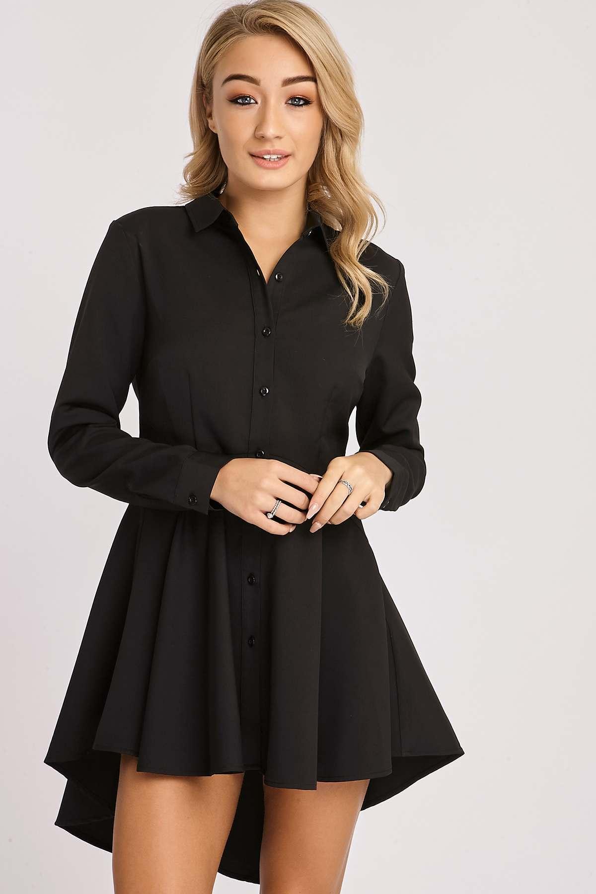 Black Dresses  Karina Black Skater Shirt Dress