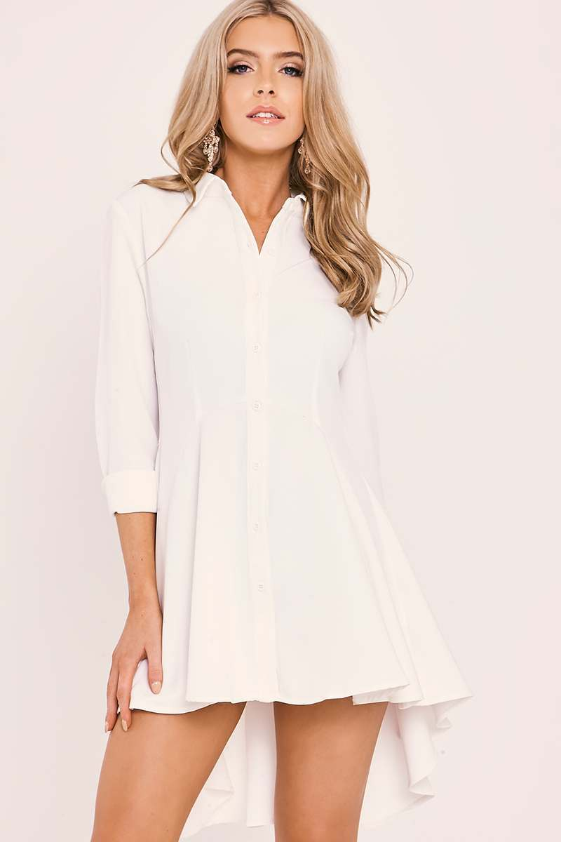 Karina white skater shirt dress in the style for White non iron dress shirts