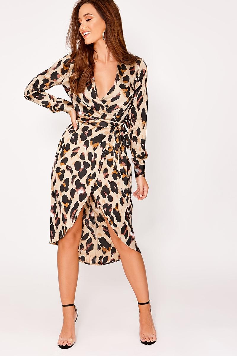 1b9df339429c Gold Dresses - Alexina Gold Satin Leopard Print Wrap Midi Dress | In The  Style - When