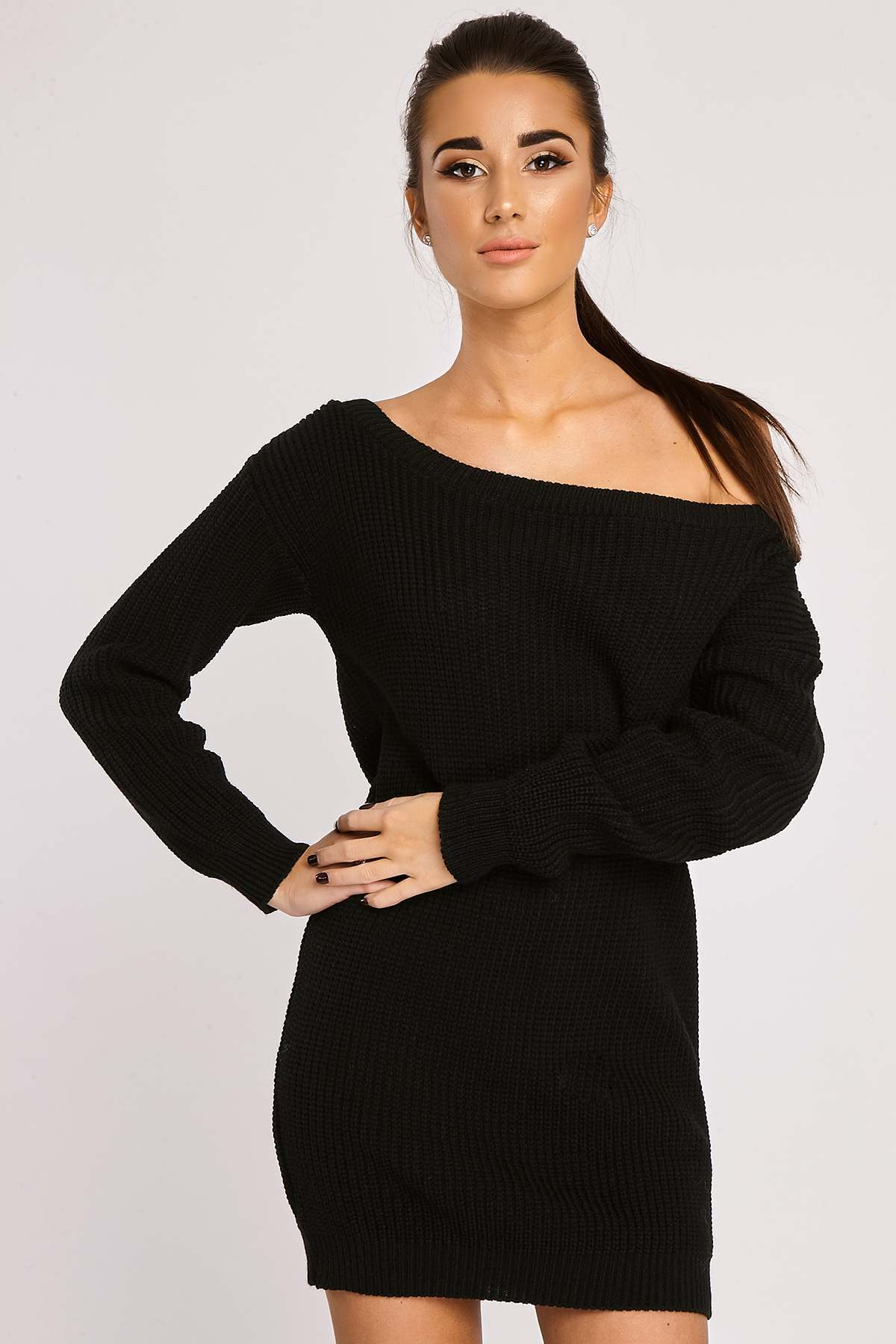 Black Dresses  Lynda Black Off Shoulder Knitted Jumper Dress