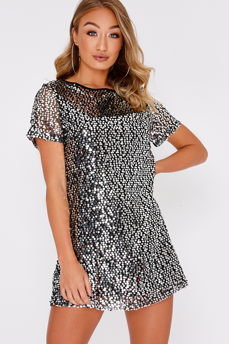 Madeline Black Sequin T Shirt Dress In The Style