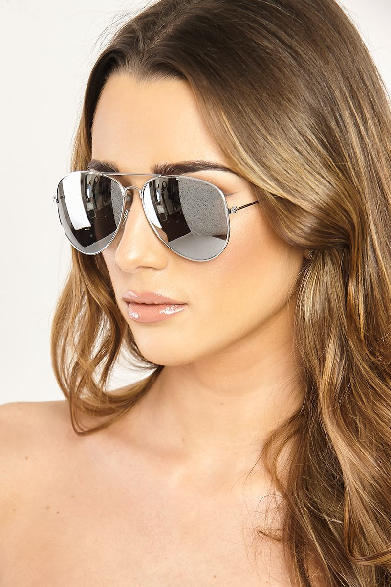 Silver Sunglasses  Memphis Silver Mirrored Aviator Sunglasses
