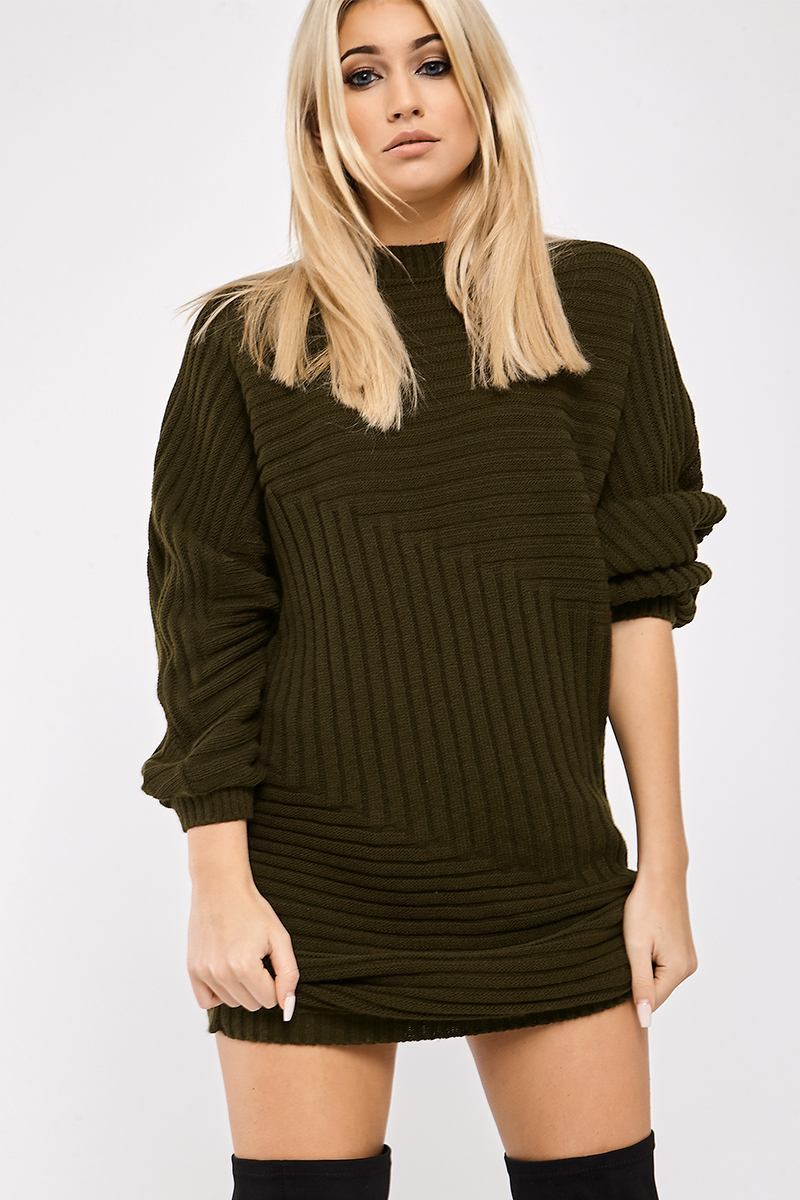 Khaki Dresses  Nisha Khaki Asymmetric Chunky Rib Knitted Jumper Dress