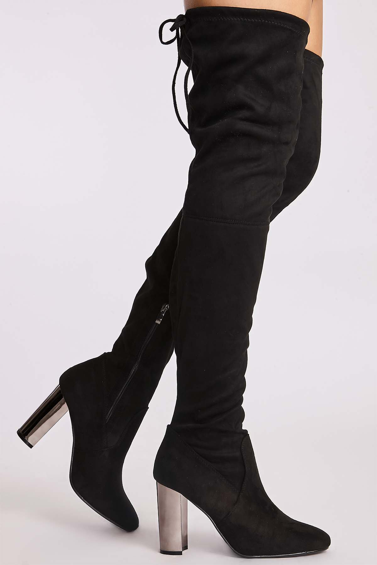 Black Boots  Natasia Black Faux Suede Chrome Heel Thigh High Boots