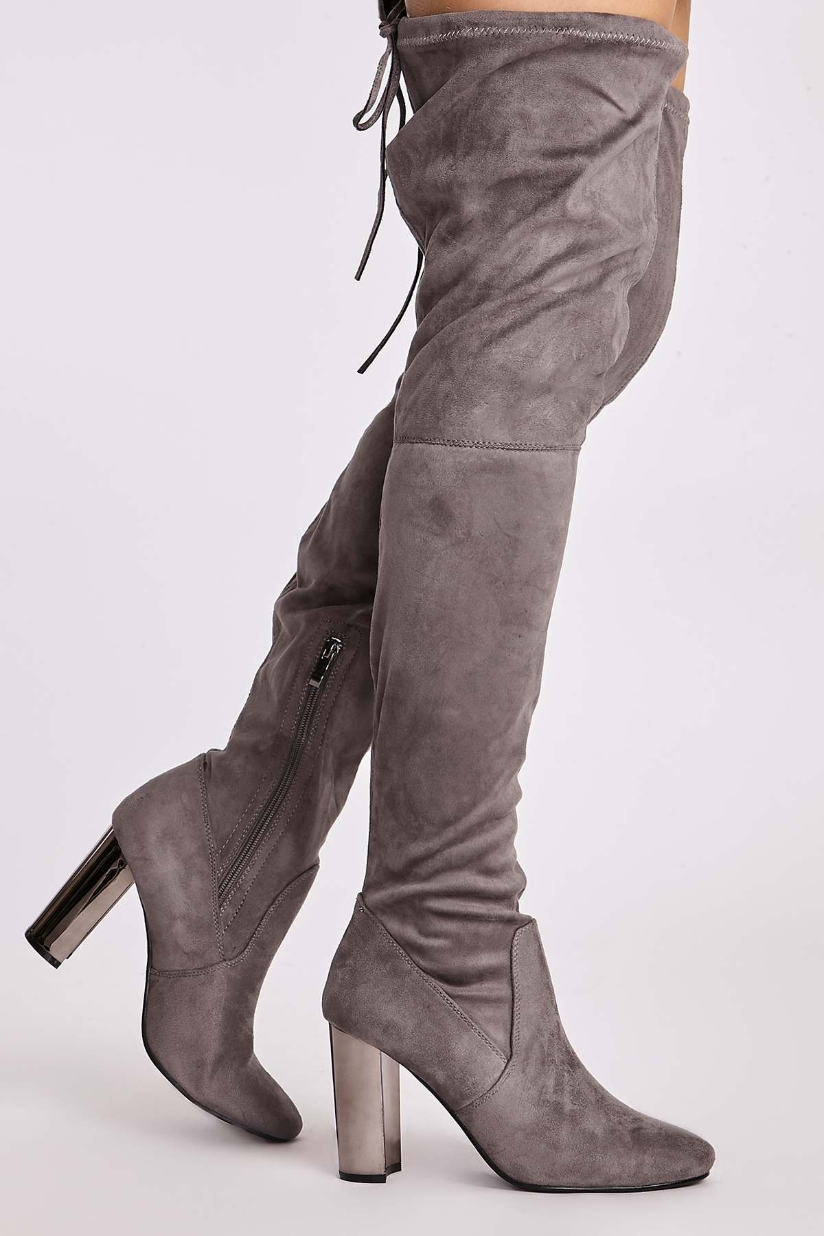 Grey Boots  Natasia Grey Faux Suede Chrome Heel Thigh High Boots