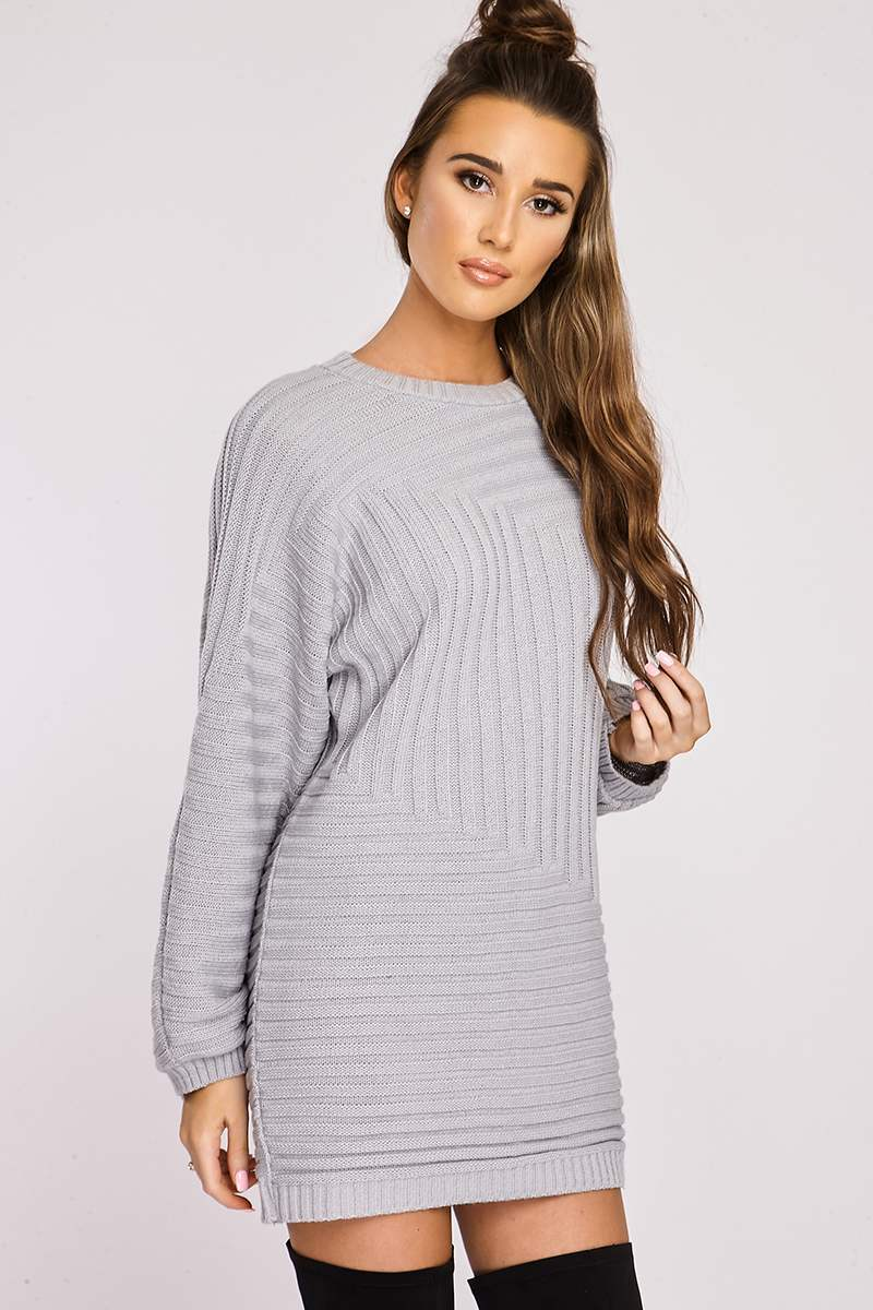 Dresses  Nisha Grey Asymmetric Chunky Rib Knitted Jumper Dress