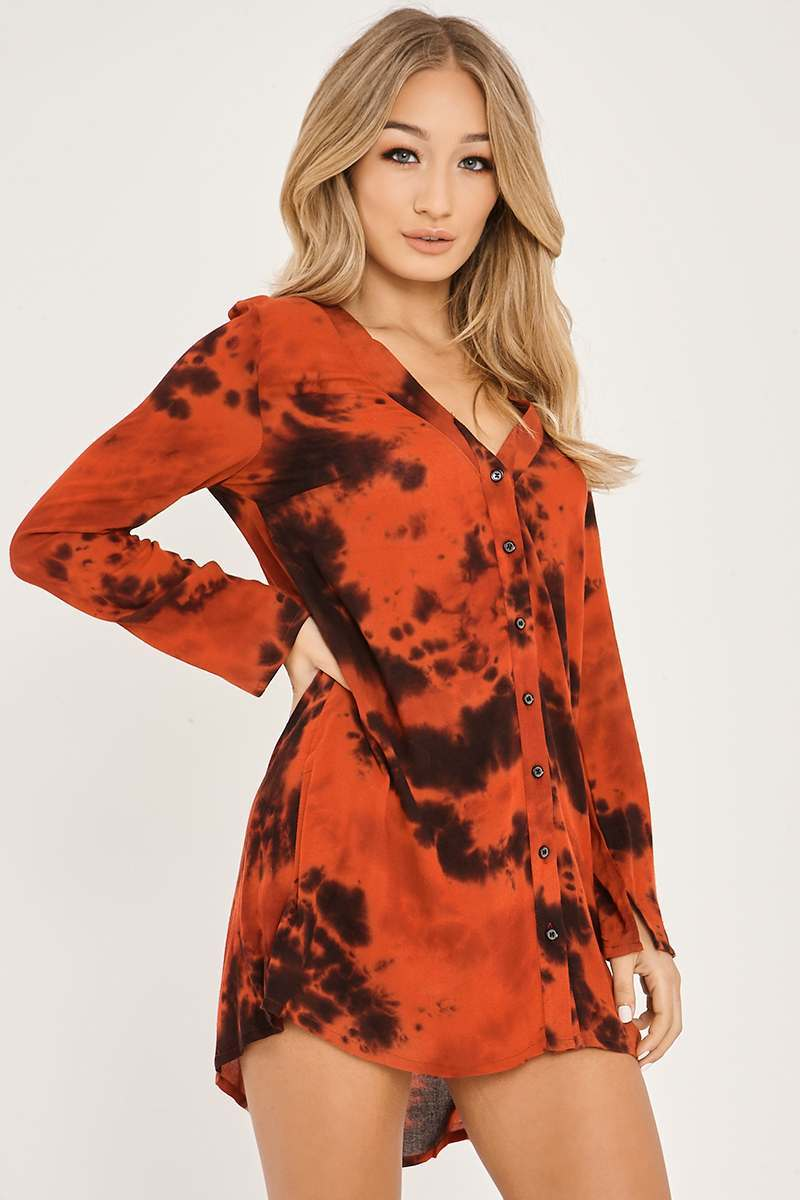 Charlotte crosby red tie dye shirt dress in the style for How to dye a shirt red