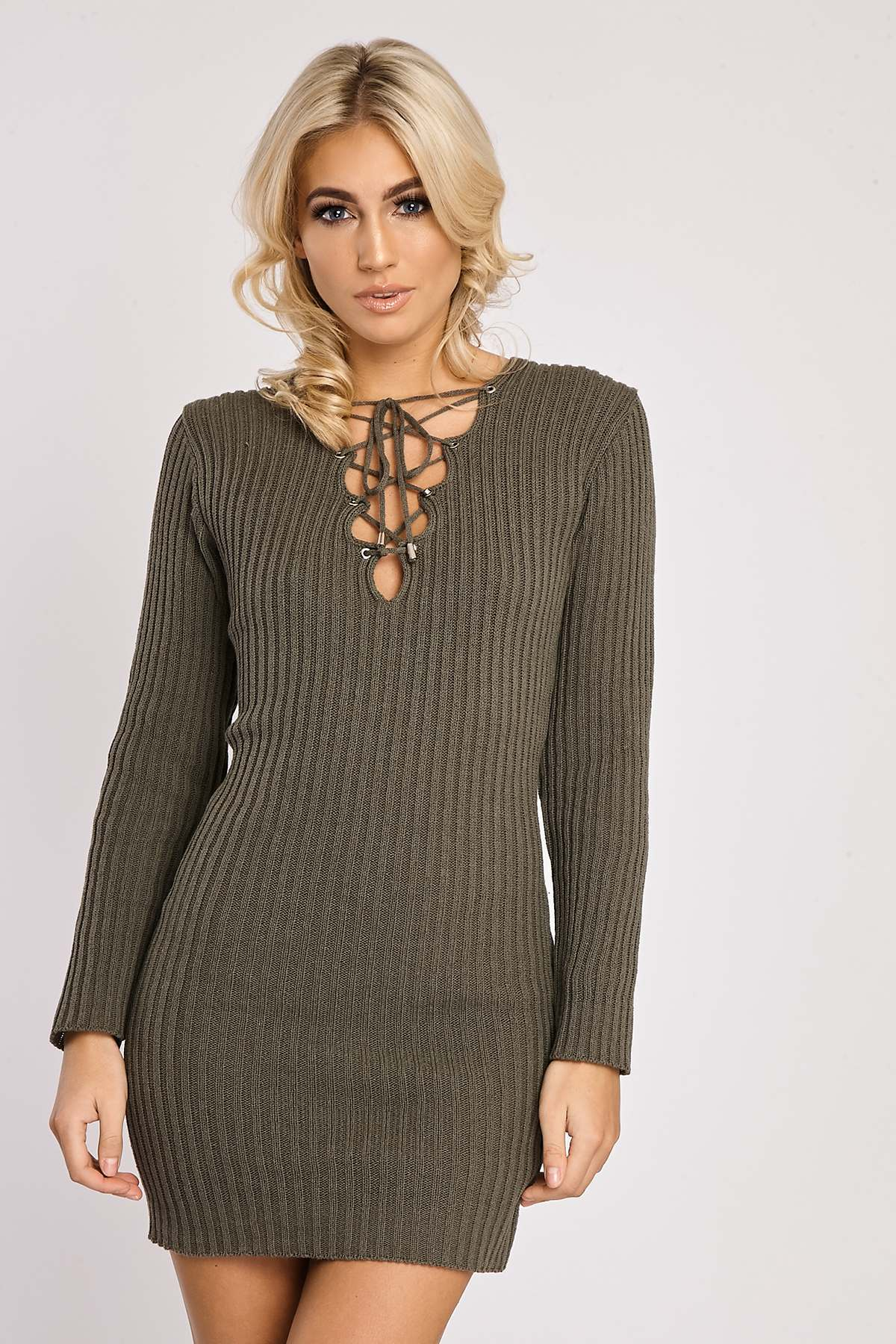 Khaki Dresses  Rabiya Khaki Lace Up Knitted Dress