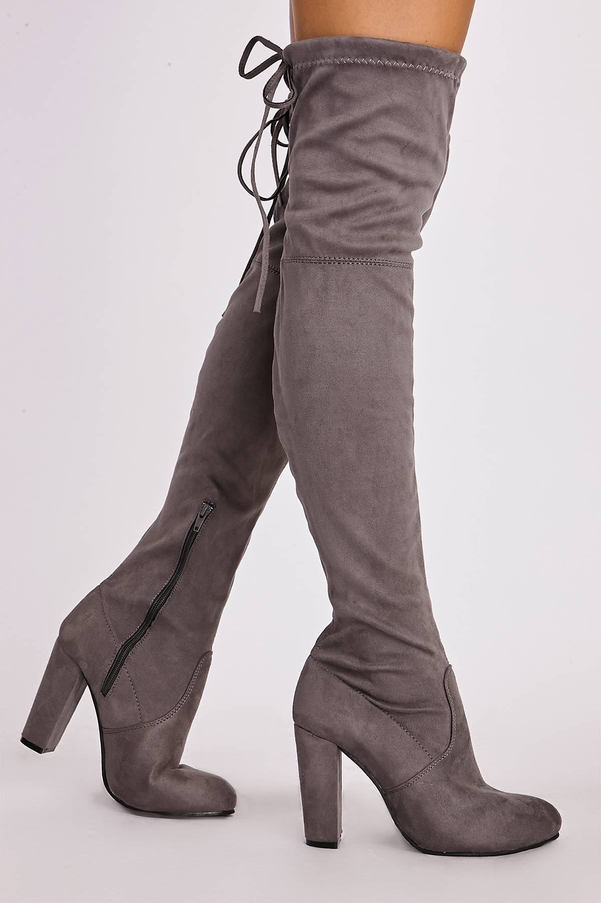 Remi Grey Faux Suede Over The Knee Heeled Boots In The Style