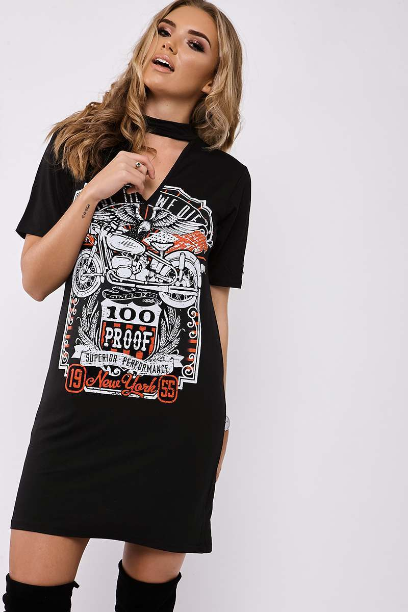 Black Dresses  Ride Till We Die Black Choker Neck t Shirt Dress