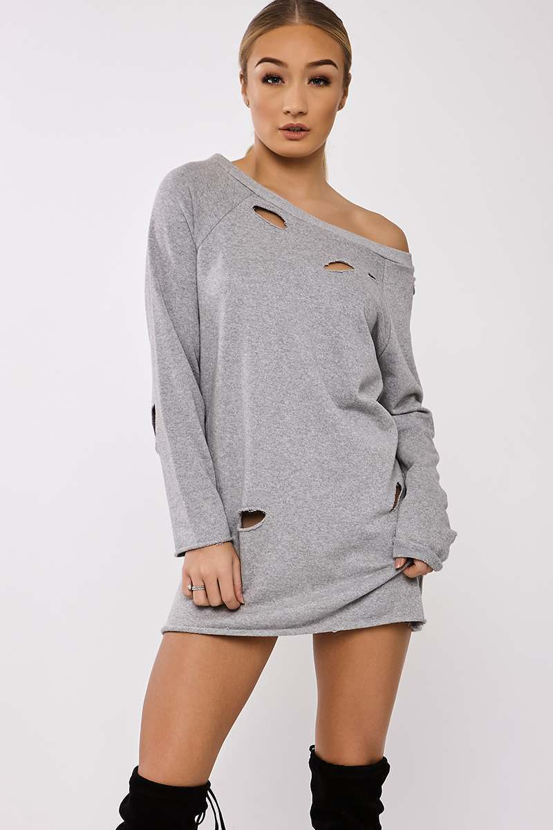 Grey Dresses  Simone Grey Oversized Distressed Sweater Dress