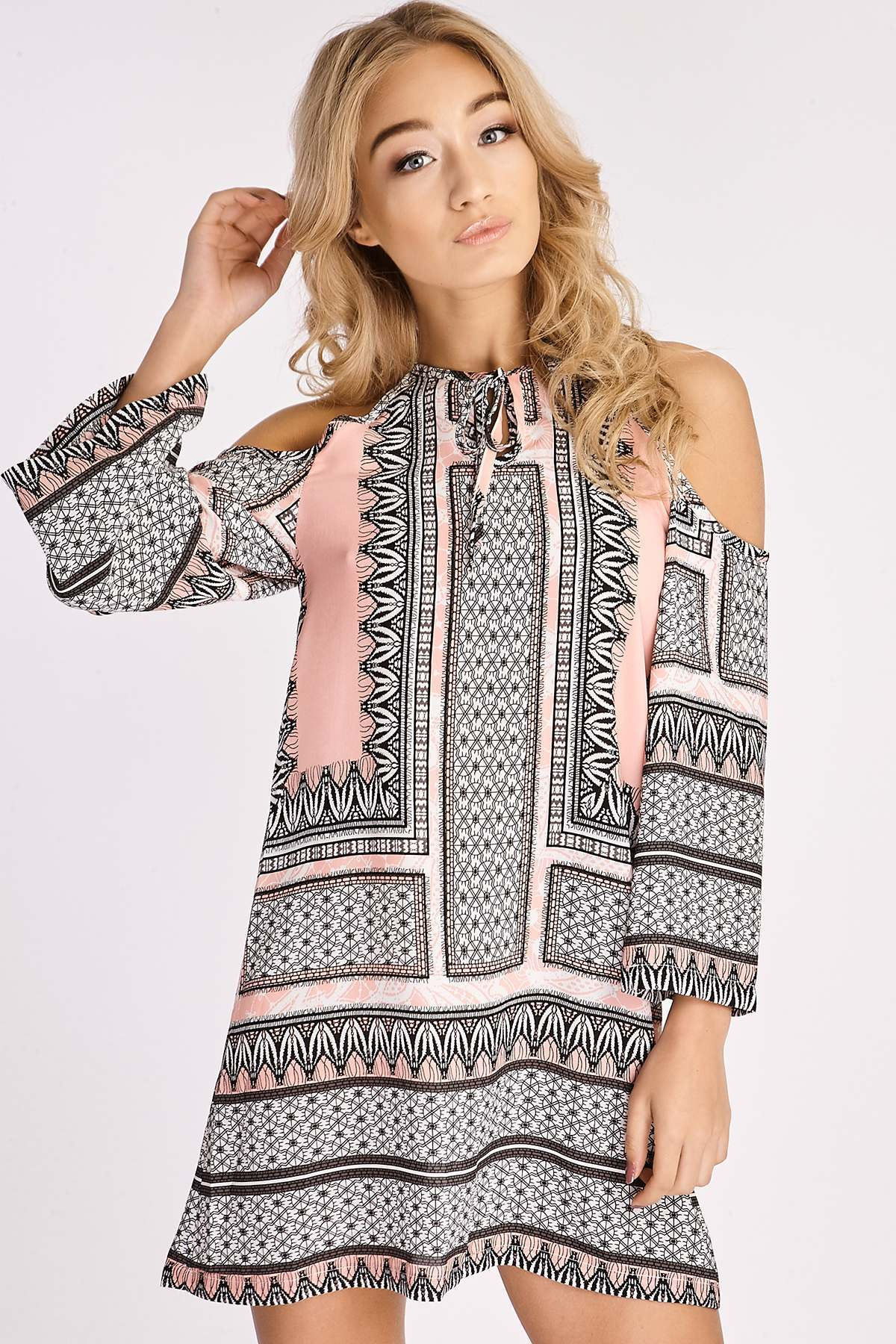 Pink Dresses  Sybil Pink Tribal Scarf Print Cold Shoulder Dress