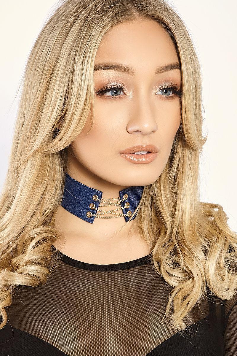 Blue Chokers  Tansy Blue Denim Gold Chain Lace Up Choker