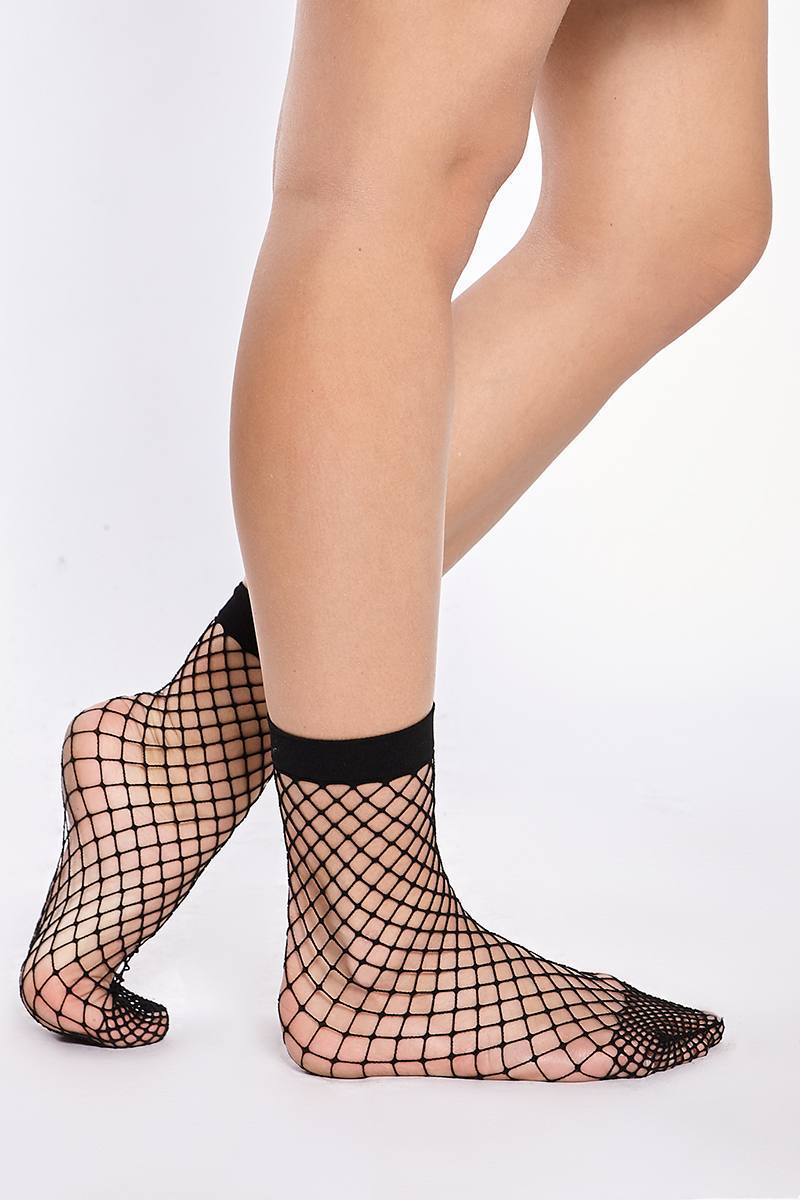 Black Socks  Taryn Black Fishnet Ankle Socks