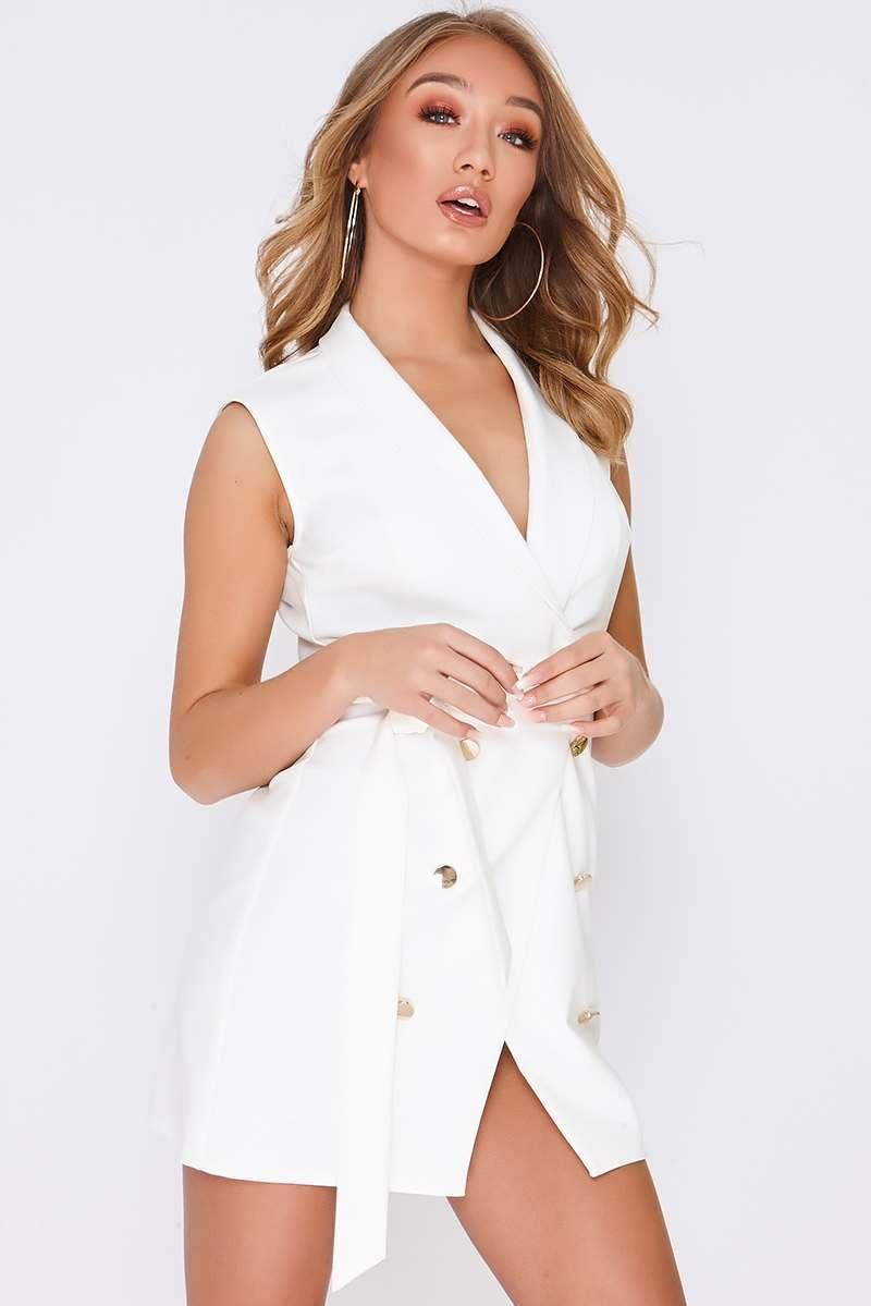 Tammy Hembrow White Wrap Front Blazer Dress In The Style