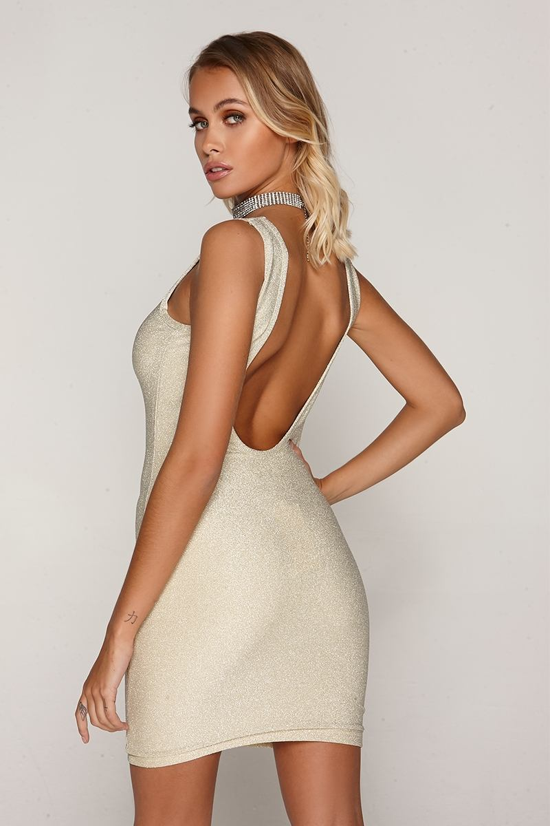 Tammu Back: TAMMY HEMBROW GOLD GLITTER LUREX SCOOP BACK MINI DRESS