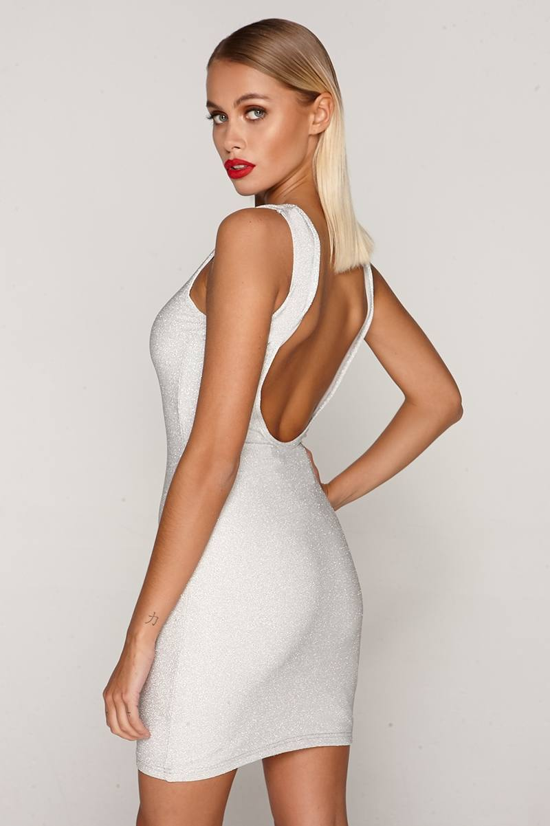 Tammu Back: Tammy Hembrow Silver Glitter Lurex Scoop Back Mini Dress
