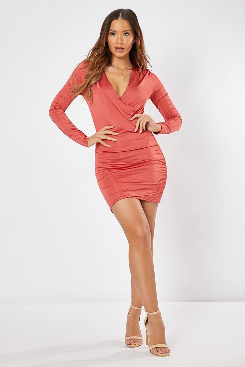 cfc6bdb691f3a8 In The Style Rust Dress - Alissa Rust Plunge Ruched Mini Dress